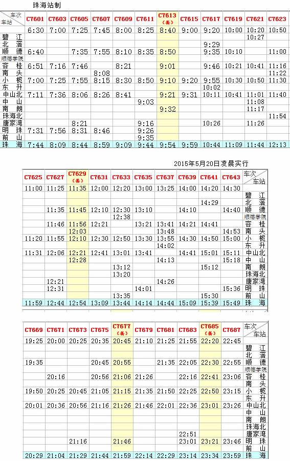 广珠城轨珠海站(广铁城轨)最新列车时刻表